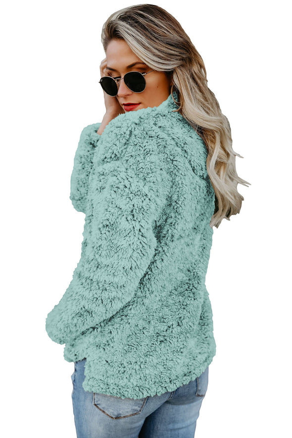 Light Green Zipper Fleece Pullover Coat - Party Girl Fashion Exclusives