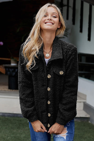 Black Sherpa Button Up Long Sleeve Jacket - Party Girl Fashion Exclusives