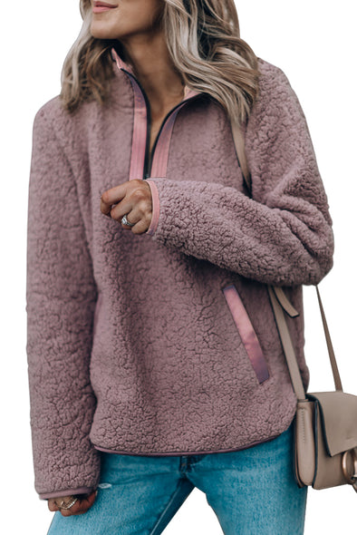 MAUVE ZIP NECK FURRY SWEATSHIRT - Party Girl Fashion Exclusives