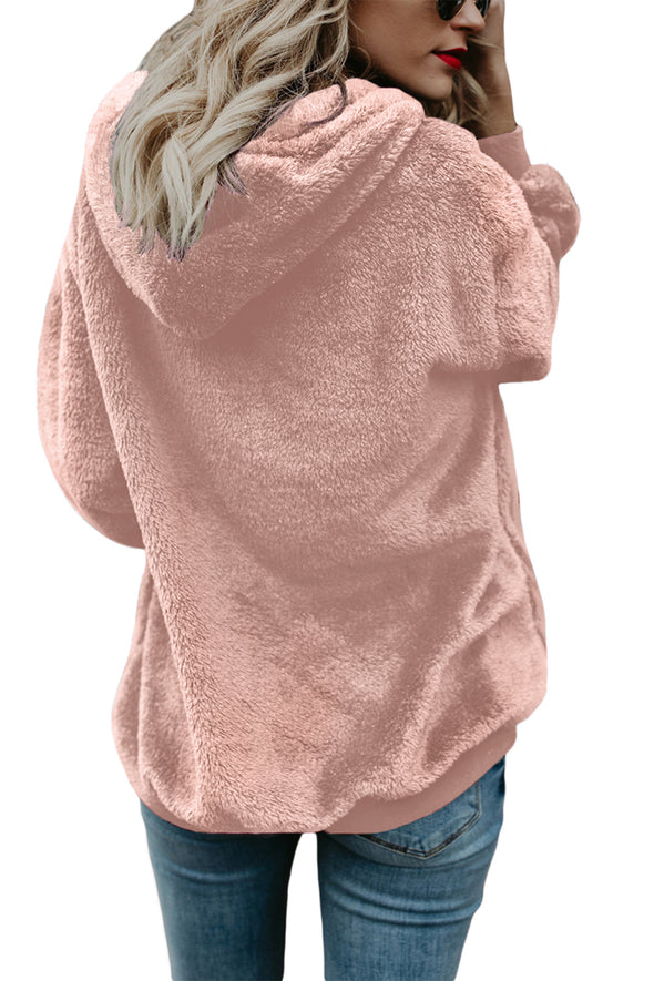 | PINK WARM FURRY PULLOVER HOODIE | - Party Girl Fashion Exclusives