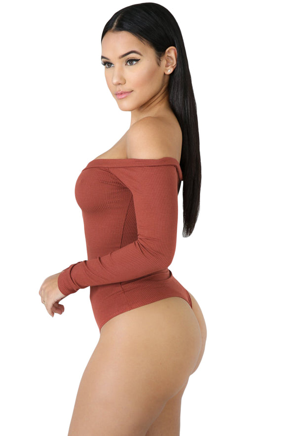 Rust Red Button Front Off Shoulder Long Sleeve Bodysuit - Party Girl Fashion Exclusives