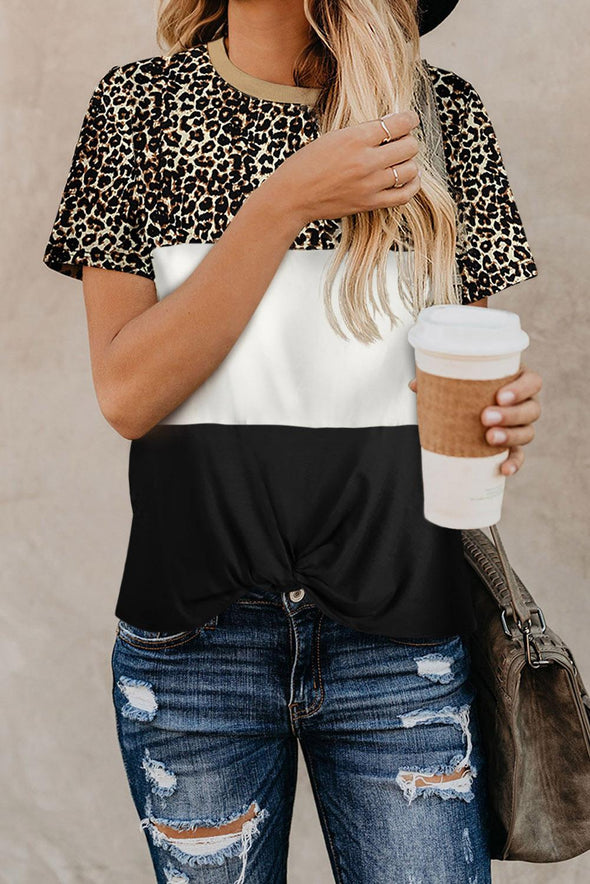 Black Block Leopard Tee - Party Girl Fashion Exclusives