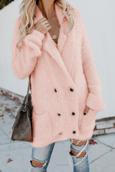 Pink Warm Fuzzy Double Breasted Pocketed Cardigan - Party Girl Fashion Exclusives