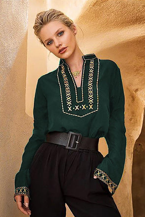 Green Boho Embroidered V Neck Long Sleeve Casual Top - Party Girl Fashion Exclusives