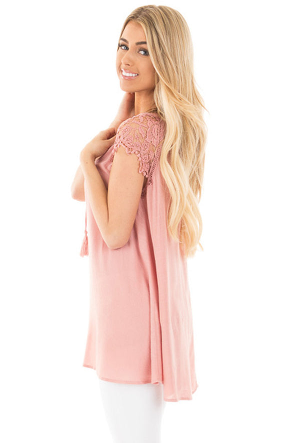 Pink Lace Sleeves Lace up Tunic Top - Party Girl Fashion Exclusives