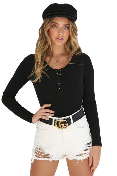 Black Long Sleeve Button Front Bodysuit - Party Girl Fashion Exclusives