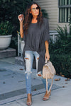 Gray Twist Ruched Hi-low Hem Top - Party Girl Fashion Exclusives