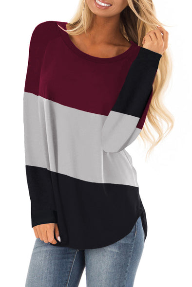 Red Long Sleeve Colorblock Top - Party Girl Fashion Exclusives