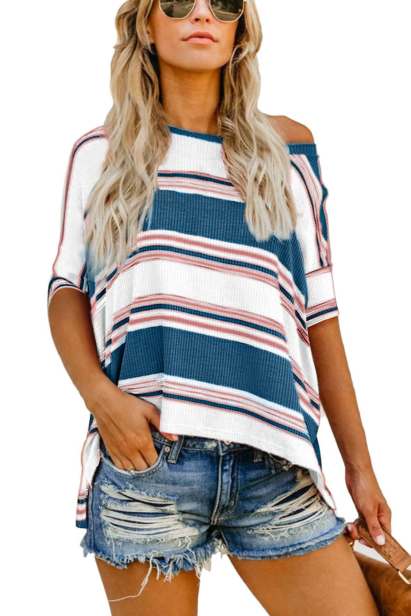 Blue White Pink Color Striped Print T-Shirt - Party Girl Fashion Exclusives