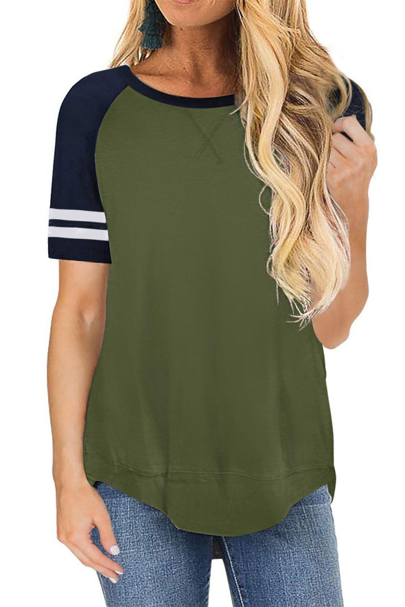 Green Color Block Contrast Short Sleeve T-shirt - Party Girl Fashion Exclusives