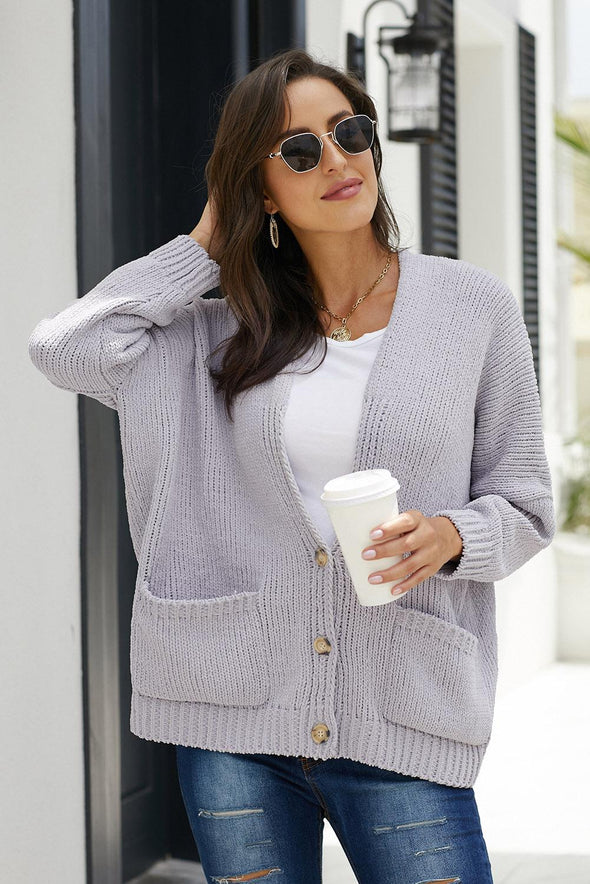 Gray Oversize Button Front Cardigan - Party Girl Fashion Exclusives