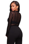Black Striped Mesh Bodysuit - Party Girl Fashion Exclusives