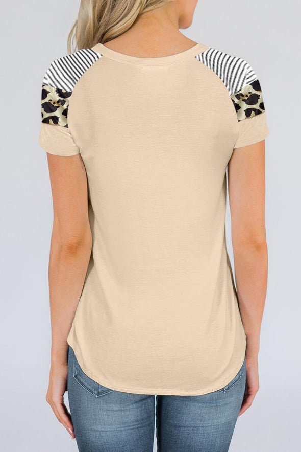 Khaki Striped Leopard Print T-shirt - Party Girl Fashion Exclusives