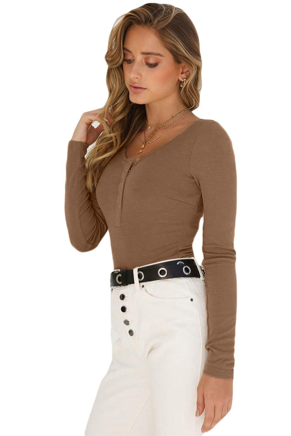 Khaki Long Sleeve Button Front Bodysuit - Party Girl Fashion Exclusives