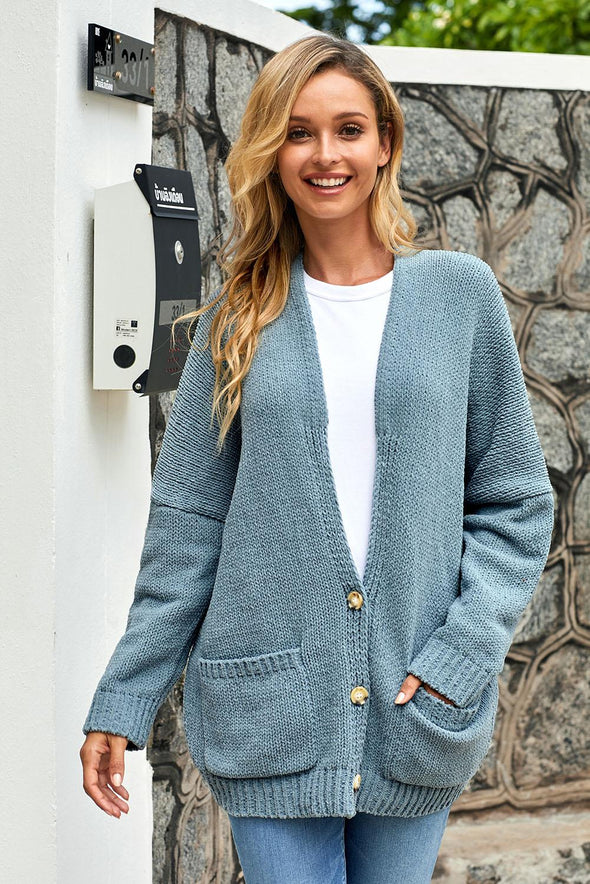 Sky Blue Oversize Button Front Cardigan - Party Girl Fashion Exclusives