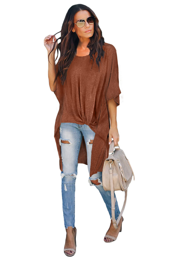 Brown Twist Ruched Hi-low Hem Top - Party Girl Fashion Exclusives