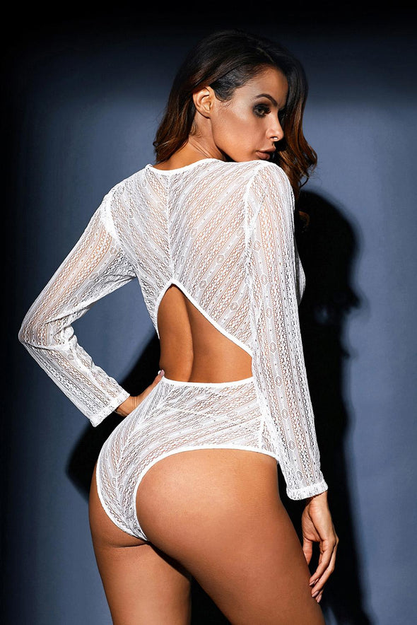 White Deep V Neck Long Sleeve Bodysuit with Open Back - Party Girl Fashion Exclusives