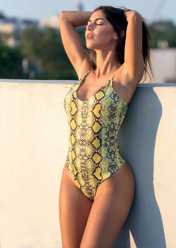 Neon Lime Snake Print Spaghetti Straps Bodysuit - Party Girl Fashion Exclusives