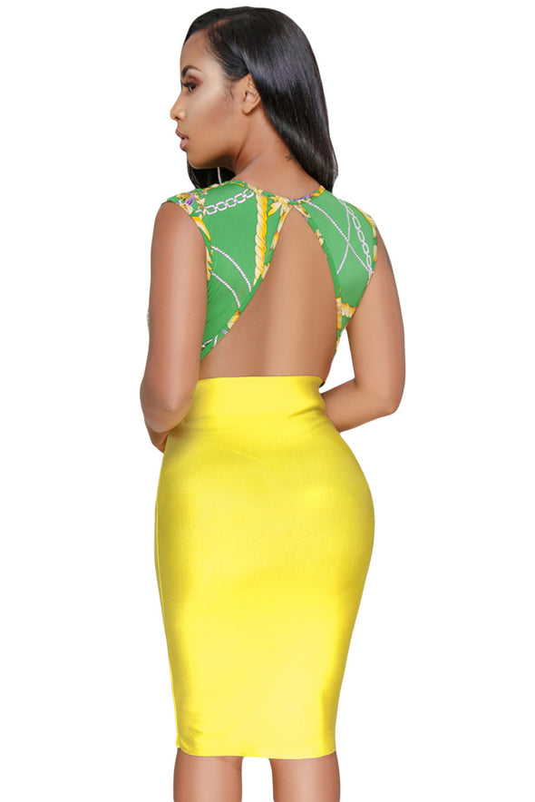 Green Gold Chain Print Daring Sexy Bodysuit - Party Girl Fashion Exclusives