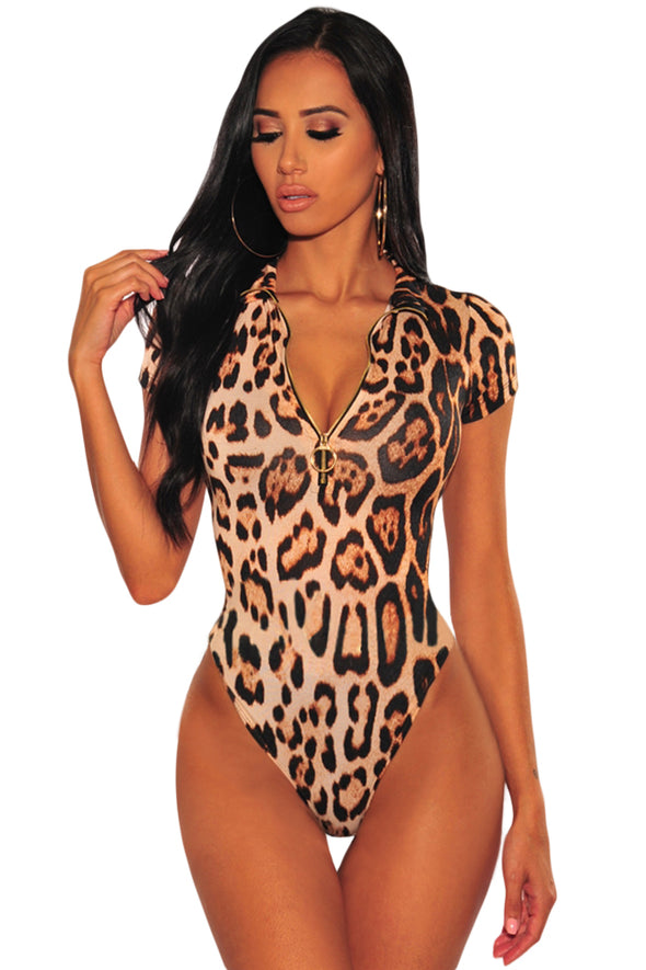Leopard Print Gold O-Ring Zipper Bodysuit - Party Girl Fashion Exclusives