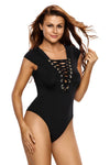 Black Lace Up Cap Sleeves Bodysuit - Party Girl Fashion Exclusives