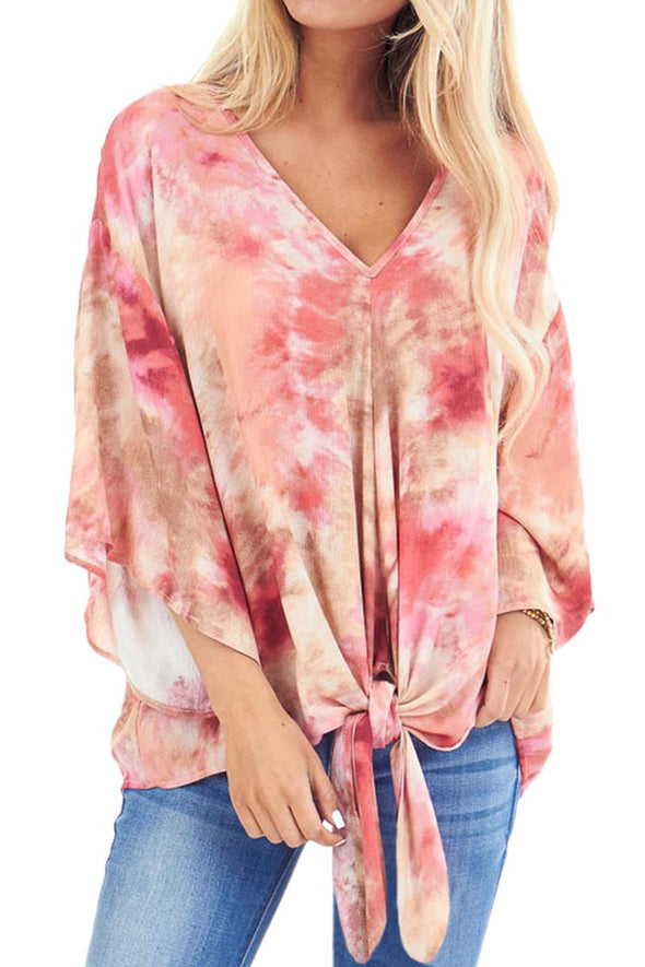Red Tie Dye V Neck Top - Party Girl Fashion Exclusives
