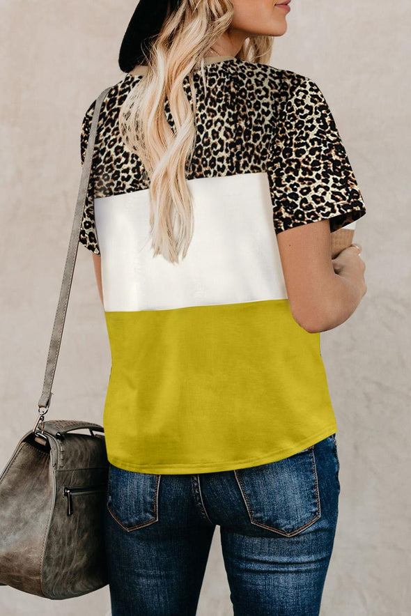 Yellow Color Block Leopard Tee - Party Girl Fashion Exclusives
