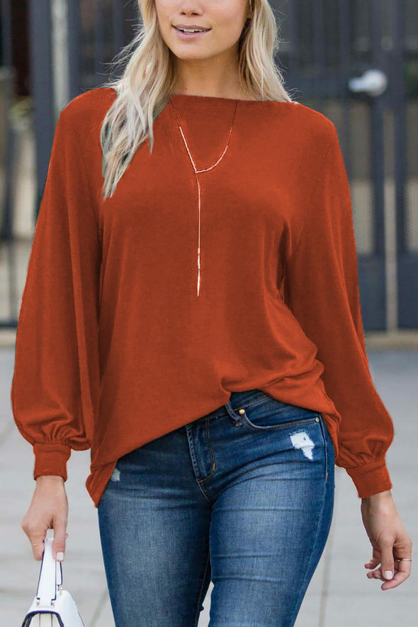 Orange Blouson Boatneck Top - Party Girl Fashion Exclusives