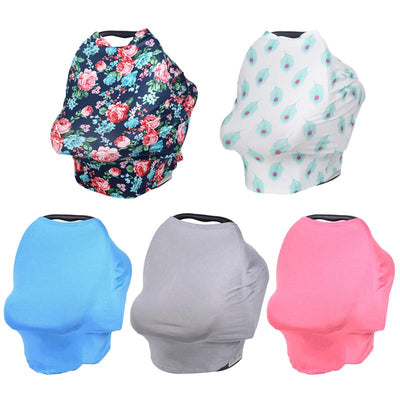 Baby Car Seat Cover Floral Multi-Use Stretchy Scarf Breastfeeding Shopping Cart Nursing Cover Baby Stroller High Chair Cover - IAmShopMall