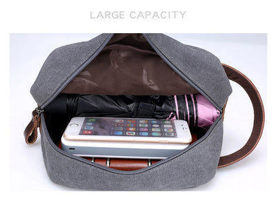 Travel makeup bag set. DAYGOS vintage Kit. Leather Handbag Canvas Toiletry Bags. - IAmShopMall