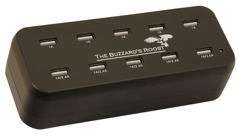 The Buzzard's Roost 10 Port Multi Charger for Garmin Alpha, DC50, TT10, T5 or TT15