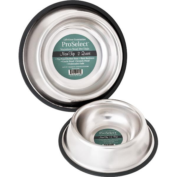 Pet Edge No-Tip Non-Skid Stainless Steel Bowl