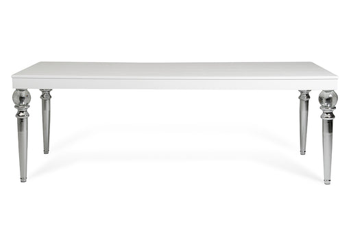A&X Baccarat Transitional White Crocodile Dining Table