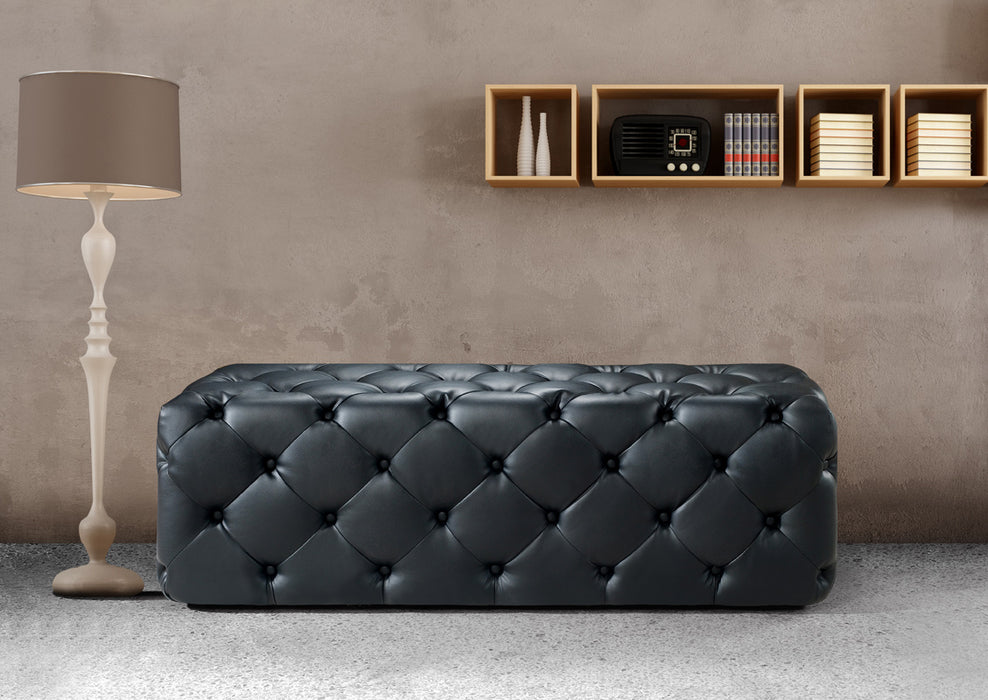 Divani Casa Maria Modern Black Eco-Leather Bench