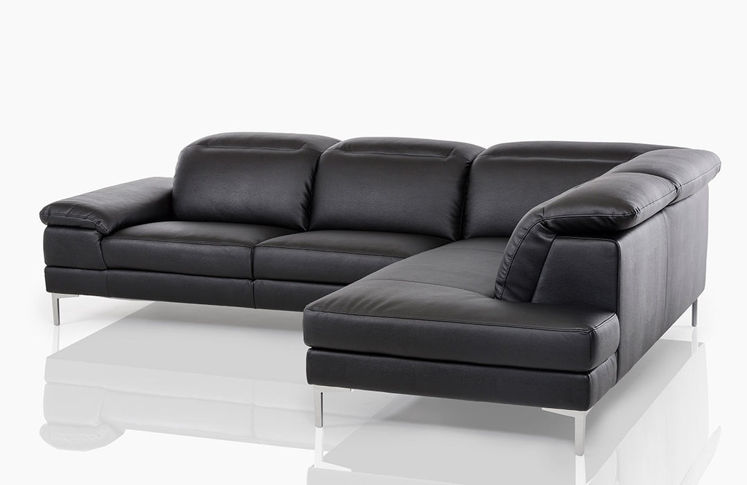 Divani Casa Carnation - Modern Black Eco-Leather Sectional Sofa ...
