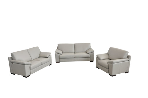 Estro Salotti Morris Italian Modern Grey Leather Sofa Set