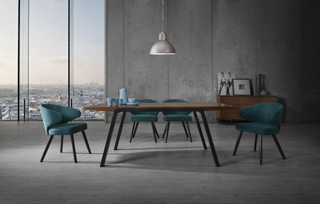 Modrest Quinn Modern Walnut & Black Dining Chair (Set of 2)
