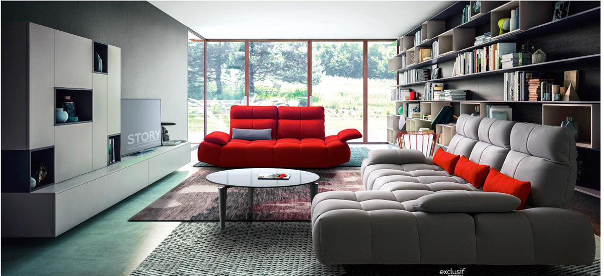 David Ferrari Baloon Modern Grey & Red Fabric Sectional & Sofa Set