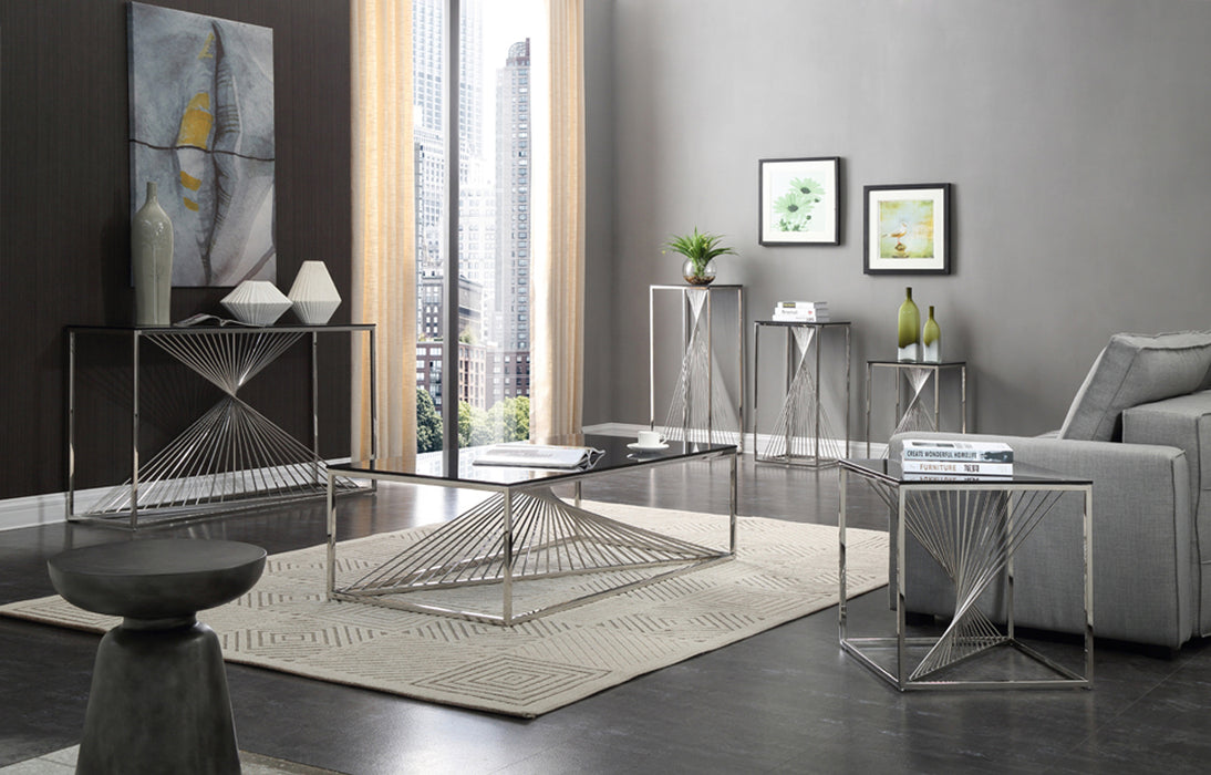 Modrest Trinity Modern Glass & Stainless Steel Coffee Table