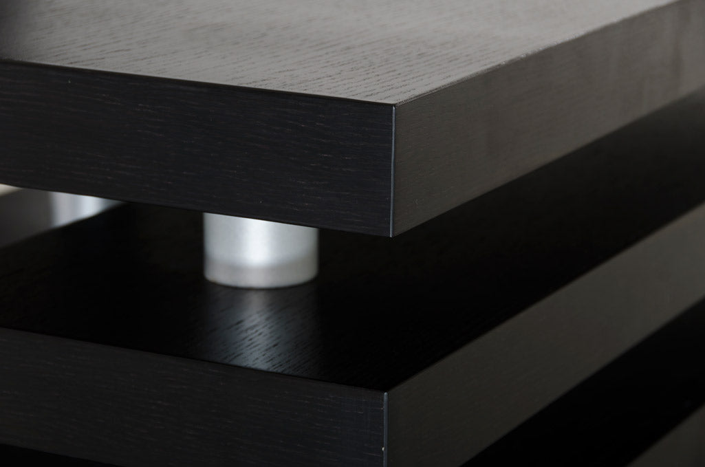 A&X Adrian - Modern Multi-Tier Black Oak Coffee Table