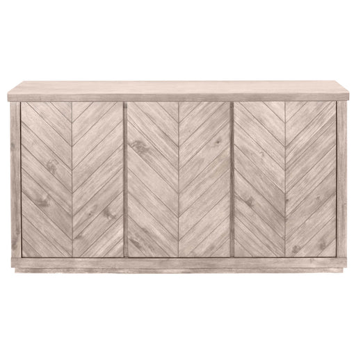 "Adler Media Sideboard in Natural Gray | Solid Acacia, Acacia Veneer  Featuring Chevron Pattern Door Panels, Three Storage Cabinets W:64"" D:20"" H:34"" Traditions Collection"