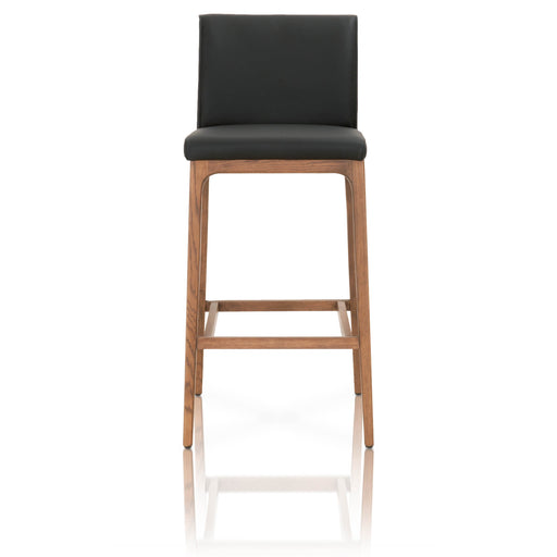 "Alex Barstool in Sable Leather, Walnut | Top Grain Leather Contemporary style barstool featuring Top Grain Leather and Solid Oak legs. Featuring Classic Design fits in a Modern or Transitional Home, Top Grain Leather W:17"" D:22.5"" H:41"" Orchard Collection"