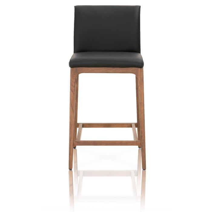"Alex Counter Stool in Sable Leather, Walnut | Top Grain Leather Contemporary style counter stool featuring Top Grain Leather and Solid Oak legs. Featuring Classic Design fits in a Modern or Transitional Home, Top Grain Leather W:17"" D:22.5"" H:36.75"" Orchard Collection"