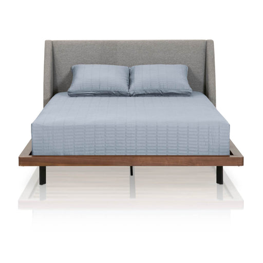 "Andes Queen Bed in Pumice Fabric, Walnut Frame, Black Legs | 100% Polyester Contemporary style bed featuring Pumice fabric upholstery with Walnut finish. Featuring Modern Midcentury Feel, Beautiful Walnut Veneers with Matte Black ""Shaped"" Legs, Slats Included W:66"" D:86.5"" H:40.5"" District Collection"