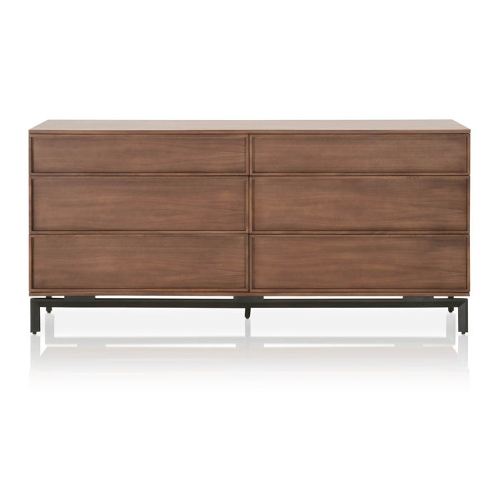 "Andes Double Dresser in Walnut, Black | Solid Walnut & Walnut Veneer, Metal Base Contemporary style double dresser featuring Walnut finish and six storage drawers. Featuring Book Matched Walnut & Veneer, Large Scale W:71"" D:18"" H:33.5"" District Collection"