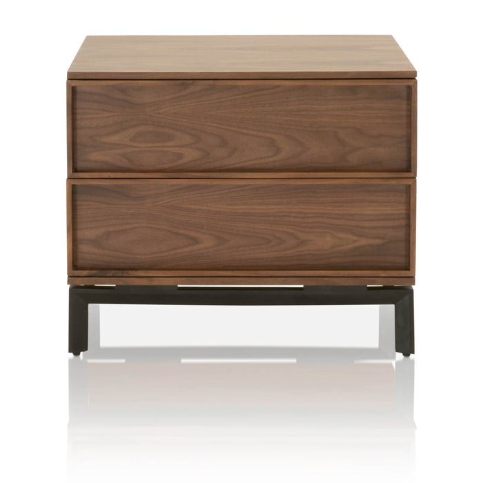 "Andes Nightstand in Walnut, Black | Solid Walnut & Walnut Veneer, Metal Base Contemporary style nightstand featuring Walnut finish and two storage drawers. Featuring Book Matched Walnut Veneer, Large Scale W:27.5"" D:17.70"" H:23.60"" District Collection"
