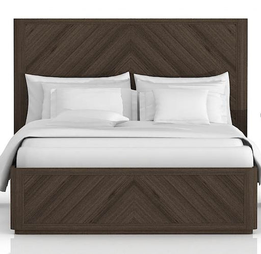"Apex Queen Bed in Cinder Brushed Acacia Contemporary style bed featuring Cinder Brushed Acacia finish and intricate Parquet pattern. Featuring Large Scale with Solid Feel, Intricate Parquet Pattern W:72"" D:87.5"" H:55"" District Collection"