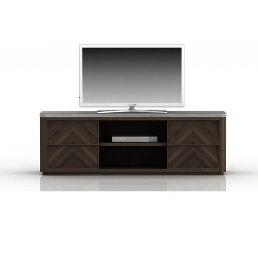 "Apex TV Unit in Cinder Brushed Acacia, Slate Grey Sealed Concrete Contemporary style TV Unit with Cinder Brushed Acacia and Slate Grey Sealed Concrete. These mixed materials give it a Modern Look, but with a Transitional feel Featuring Mixed Materials Give It A Modern Look With A Transitional Feel, Nano Sealed Concrete Top W:63"" D:19.25"" H:23.5"" District Collection"