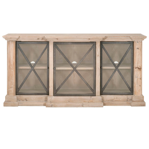 "Augustine Media Sideboard in Smoke Gray Pine, Gray Steel | Solid Reclaimed Pine, Veneer Top  Featuring Reclaimed Pine Wood, Steel Doors with Clear Glass W:74.80"" D:19.70"" H:37"" Bella Antique Collection"