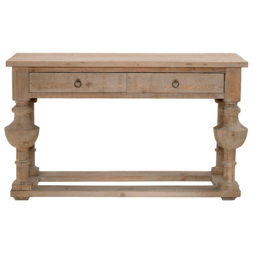 "Belham Console Table in Smoke Gray Pine | Solid Reclaimed Pine Transitional style console table featuring two drawers and decorative ring pulls. Featuring Reclaimed Pine Wood, Two Storage Drawers W:59"" D:23"" H:34"" Bella Antique Collection"